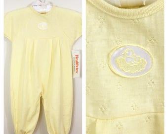 80s Healthtex Yellow Short Sleeve Sleeper Onesie, NWT, Deadstock, 12 months Unisex