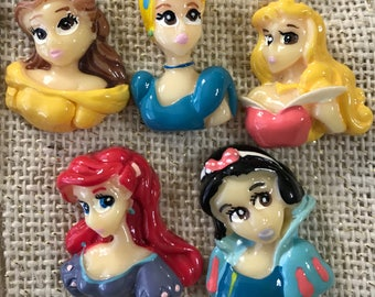 5 Disney Princesses Colorful Flatback Cabochon