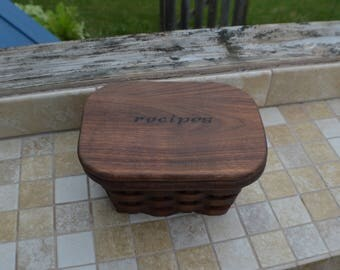 4x6 recipe card box Walnut Wood Basket
