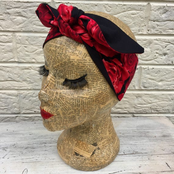 Red Roses Headscarf Rockabilly Pinup 1950's Inspired