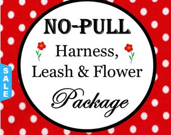 Sale - 40% Off No Pull Harness, 6 FT Leash & Flower Package - Available in all Dog Collar Listings - Fabric name is i