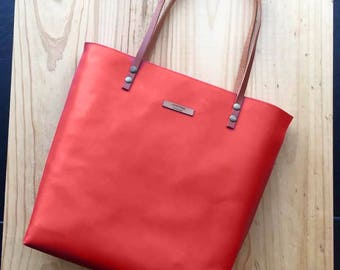 Red Leather tote,leather bag,custom color inside,whit your name,custom color leather straps,handbag,Tote bag,minimalistic bag