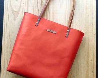Coral red Leather tote, coral leather bag,custom color inside,whit your name,custom color leather straps,handbag,Tote bag,minimalistic bag