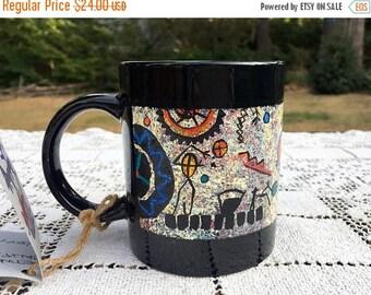 17% OFF SALE Artist Painted Mug/Kris Vermeer Mug/Tribal Blanket Trade/Indian Art Mug/Kris Vermeer Artist/Indian Tribal Trade/Abstract Indian
