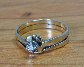 DEADsy LAST GASP SALE Vintage Shamrock Diamond Engagement Ring, Yellow 14K Gold, Flower with Leaves, Unique Wedding Set, size 7 Celtic?