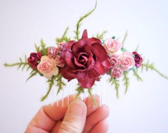Bridal Hair Comb, Burgundy Hair Comb, Bridesmaids Hairpiece, Bridal Floral Comb, Burgundy Wedding, Rose Hair Comb, SWEET BELLA