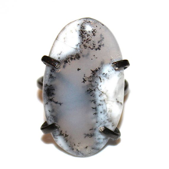Dendritic Opal Ring in Black Gold