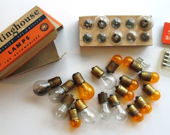 Vintage Westinghouse auto bulbs, 27 bulbs plus bonus fuses, great for jewelry making, crafting, assemblage