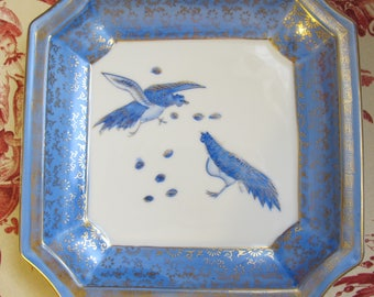 Asian Home Decor: Japanese Blue, White, Gold Tabletop Glass Display Dish w Birds. Oriental Home Style. Town & Country Living. Blue Ceramics
