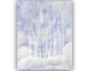 Princess Nursery room, Blue Princess Castle Art Print, Girls room Decor, Kids Wall Art, Nursery Decor, Nursery Wall Art, Kids Decor