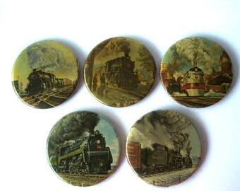 CIJ SALE Vintage Train Locomotive Buttons Lot of 5