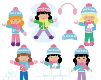 ON SALE INSTANT Download. Winter girl clip art. Cwg_1. Personal and commercial use.