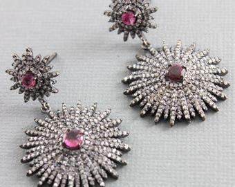 Pave Diamond Earrings, Pave Diamond and Pink Tourmaline Starburst Drop Earrings, Diamond Drop Earrings, Pink Tourmaline Earrings (DER-120)