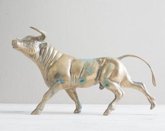 "Vintage 13"" Brass Bull Statue"