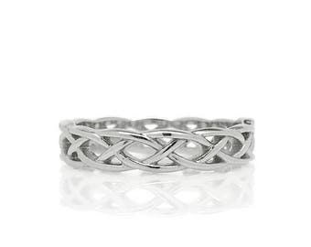 Stainless Steel Ring, Braid Ring, Band Ring for Women, Irish Jewelry, Silver Pinky Ring, Thumb Ring, Metal Braided Ring, Stackable