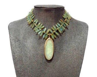 Green choker, Beaded choker, Dagger necklace, Czech glass necklace, statement necklace, bib necklace