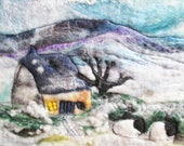 sheep in the snow picture, felted  winter landscape, naive felt art