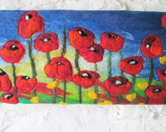 poppy picture, wet felted art on canvas, felt painting