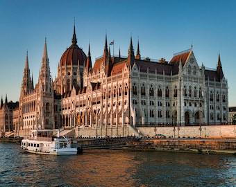 Budapest Parliament Sunset Gothic Architecture Urban Travel Landmark City European Hungary Water River Danube Bridge Photographic  Print