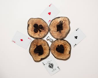 Playing Cards Poker Bridge Driftwood Engraved Coasters - Sustainable Gift - West Coasters - Wood - Eco Houseware - Poker - Bridge - Suits