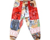 STAR WARS Jedi joggers - sweat pants cozy track suit cuff red vynil vegan upcycled hip hop unisex burning man funky