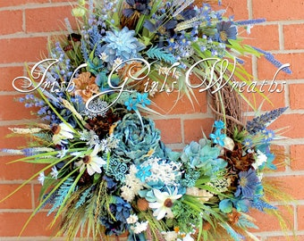 Stormy Seas X-Large Coastal Wreath, Beach Wreath, Blue, teal, turquoise, brown, gray, Summer Wreath, Ocean