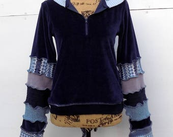 Katwise Inspired Hoodie - Pixie Fairy Festival Clothing - Free Spirit - One of a Kind - Repurposed Velour Pullover - Men's Women's Upcycled