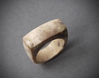 Size 10 US, Antler rings, Antler ring, Antler jewelry, Deer antler, Signet ring, Men ring, Antler men ring, Antler band ring, Elk antler