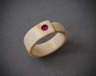 Size 6 US, Antler ring, Inlaid Swarovski crystal,  Elk antler ring, Purple ring, Fuchsia ring, Purple band ring, Women rings, Purple jewelry