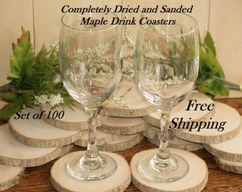 Rustic Wood Coasters-100 Maple Wooden Slices 3 to 3.5 inch Diameter 3/8 Thick Wood Tree Slices-Thick Coasters-Wood Disc-Wedding Coasters