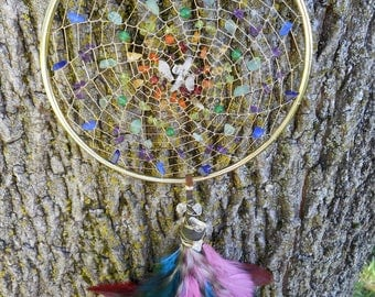 "Chakra Alignment Hand-Woven Bohemian Tribal Hippie Crystal Healing 5"" Dream Catcher in Silver by The Emerald Lotus"