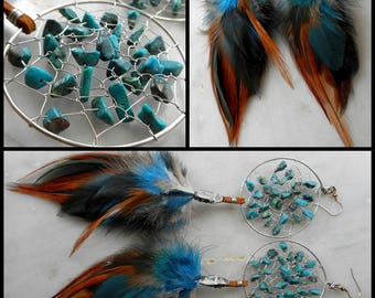 Chrysocolla Bohemian Hippie Dream Catcher Earrings with Hand ArrangedFeathers by The Emerald Lotus