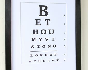 Be Thou My Vision Eye Chart Digital File for Instant Download