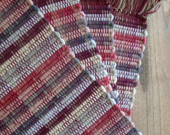 Rag Rug Placemats in Soft Pinks, Tan, Gray, and Burgundy, Set of 4 Handwoven in Nicaragua