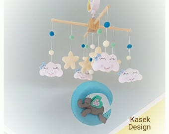 Ready to ship - Baby Crib Mobile - Music Baby Mobile - Felt Mobile - Nursery mobile - Elephant on the moon