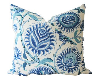 Decorative Designer Bailey & Griffin, Hand Printed Floral, Blue Pillow Cover, 18x18, 20x20, 22x22 or Lumbar Throw Pillow