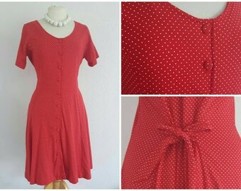Vintage Red Polka Dot Tea Dress - 50s 60s Style Swing Rockabilly Dress - Fit & Flare Dress - Red White Spotty Dotty Dress