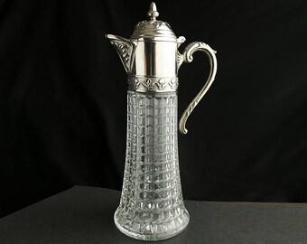 Vintage Wine Decanter. Primrose Claret Jug. Made in Italy. Diamond Cut Crystal Carafe. Silver Plated EP Zinc Pitcher. Vintage Decanter.