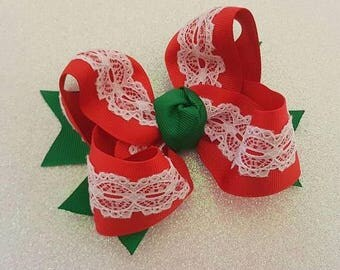 Toddler Bows....Lace bows....Lace Toddler Bows...Lace bows...Christmas Bows...Toddler Christmas Bows ...Toddler bow..Lace Hair Bows