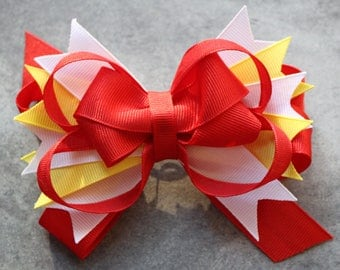 Red, White, and Yellow KC Chiefs Inspired Hair Barrette