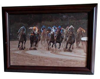 Rick Berkley 1995 Horse Race Photographic Print on Print on Canvas