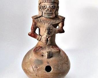 Pre-Columbian Pottery Effigy Figural Stirrup Spout Vessel Reproduction