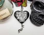 Alice in Wonderland necklace, black bat necklace, twinkle twinkle little bat, black heart, glitter heart