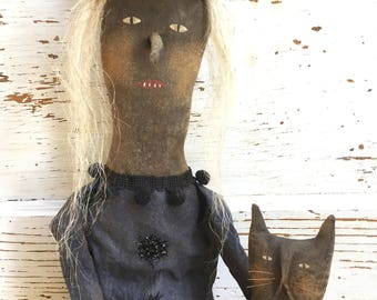 Primitive Grungy Folk Art ~ Long Nose Witcheteria ~Witch Doll w/Cat Set~Hafair Team