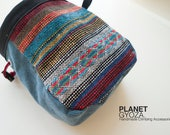 Chalk Bag - patchwork / rainbow striped fabric and dark grey fabric  / Christmas gift for him
