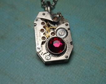 Steampunk Necklace, Vintage Necklace, Silver Vintage Waltham Watch Mechanism, 17 Jewels, Fuchsia Swarovski Crystal, N73