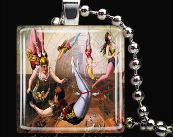 10% OFF JUNE SALE : Vintage Trapeze Artists Circus Performers Glass Tile Pendant Necklace Keyring