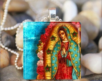 15% OFF SALE : VIRGIN Of Guadalupe Our Lady of Guadalupe Virgin Mary Catholic Religious Glass Tile Pendant Necklace Keyring