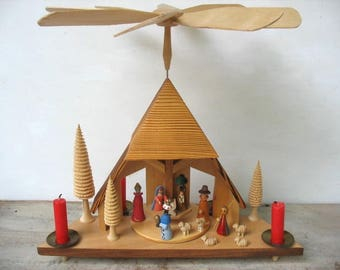 Vintage Expertic Erzgebirge Nativity  With Wind Mill Spinner Original Box East German Erzgebirge Christmas Candle Holder