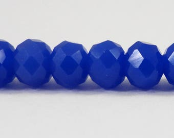 "Opaque Blue Crystal Beads 6x4mm (4x6mm) Cobalt Blue Crystal Rondelle Beads, Chinese Crystal Glass Beads on an 8 3/4"" Strand with 49 Beads"
